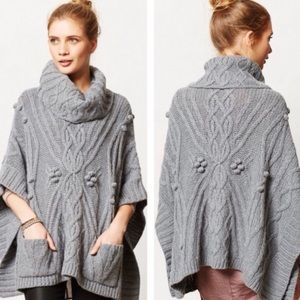 Anthropologie Cabled Cowl Poncho Sweater